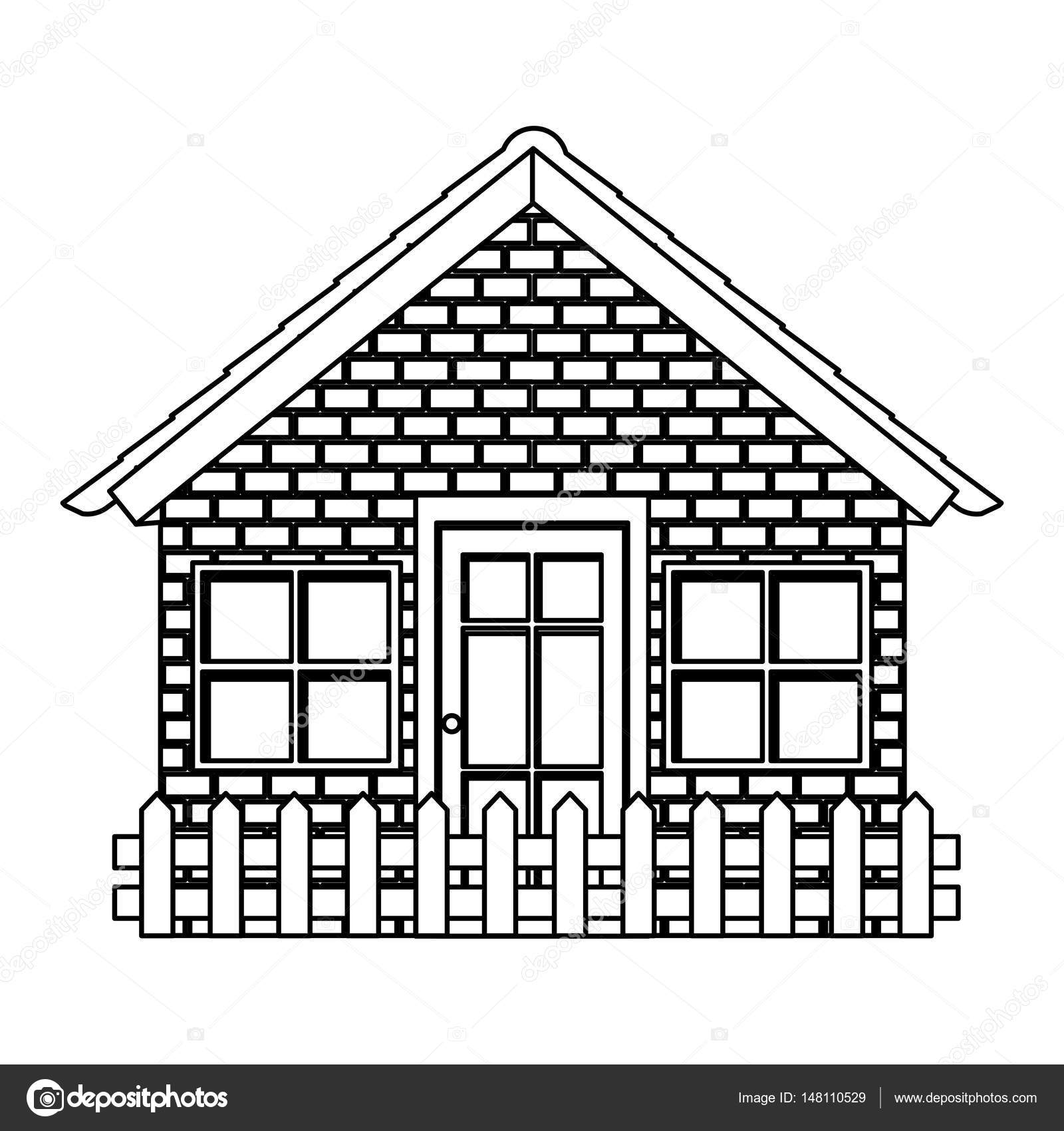 Silhouette Comfortable Facade House With Brick Wall And