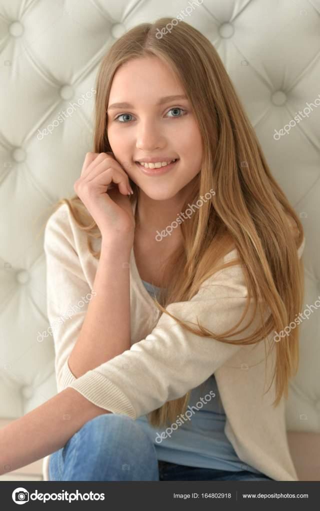 Portrait Of Cute Teen Girl Stock Photo