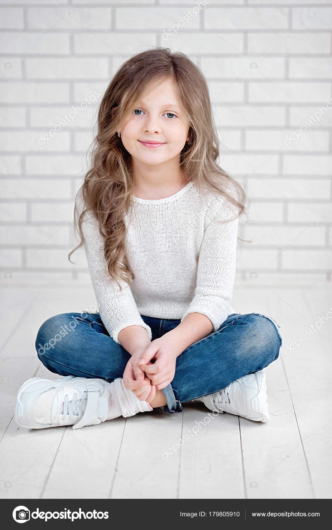 Portrait Of Cute Little 7 Years Old Girl Smiling And