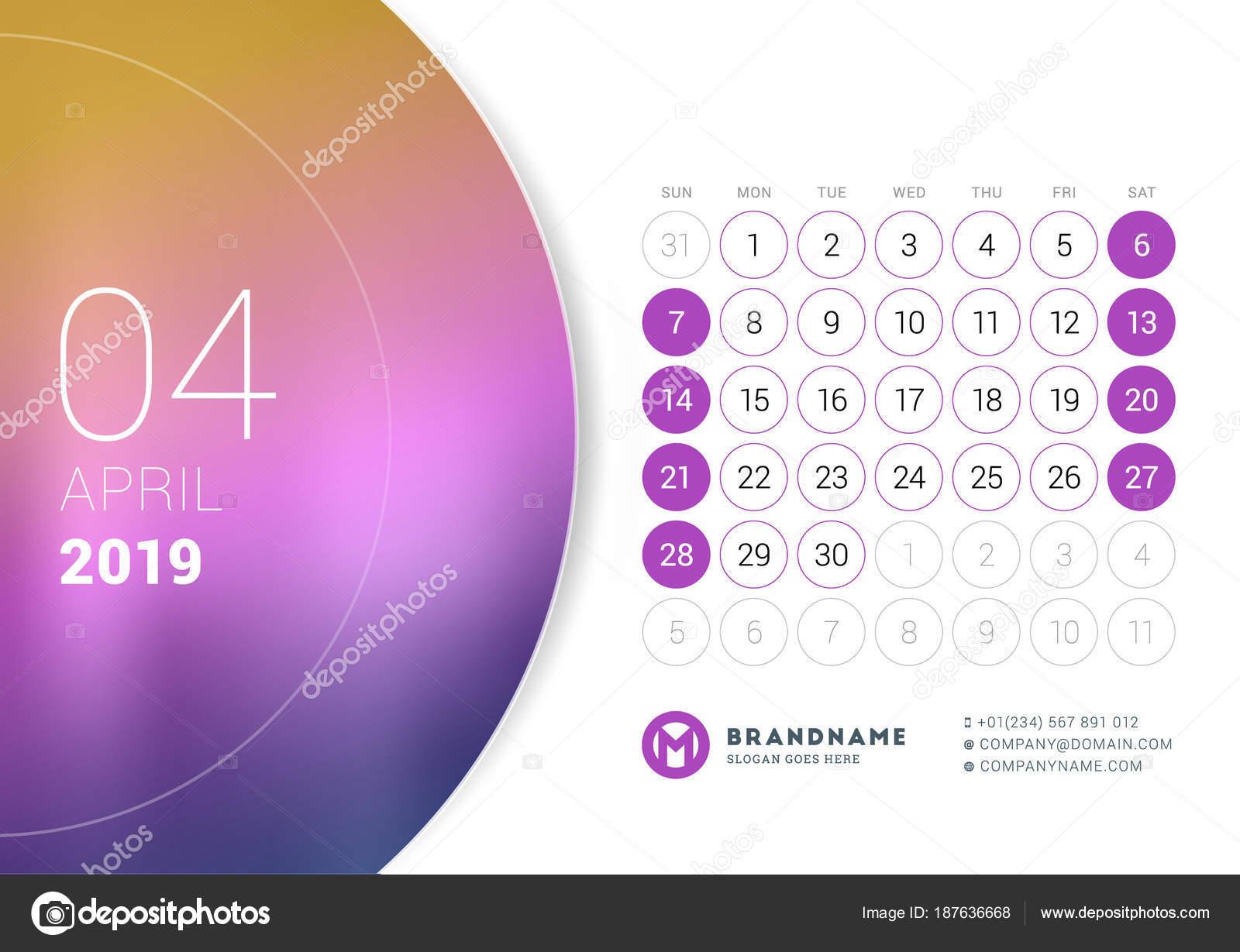 Aprile 2019 Calendario Da Tavolo Per Lanno 2019 Modello