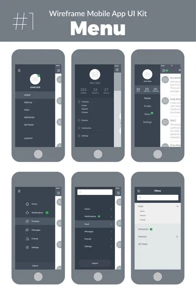 UI  UX and GUI For Online Food Delivery Mobile App      Stock Vector     Wireframe UI kit for mobile phone  Mobile App  Menu screens