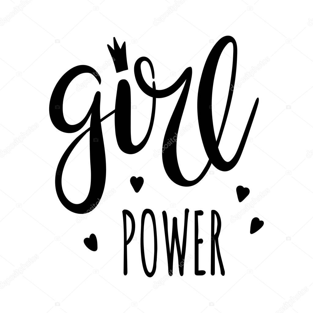 Girl Power Lettering Feminism Slogan Black Inscription