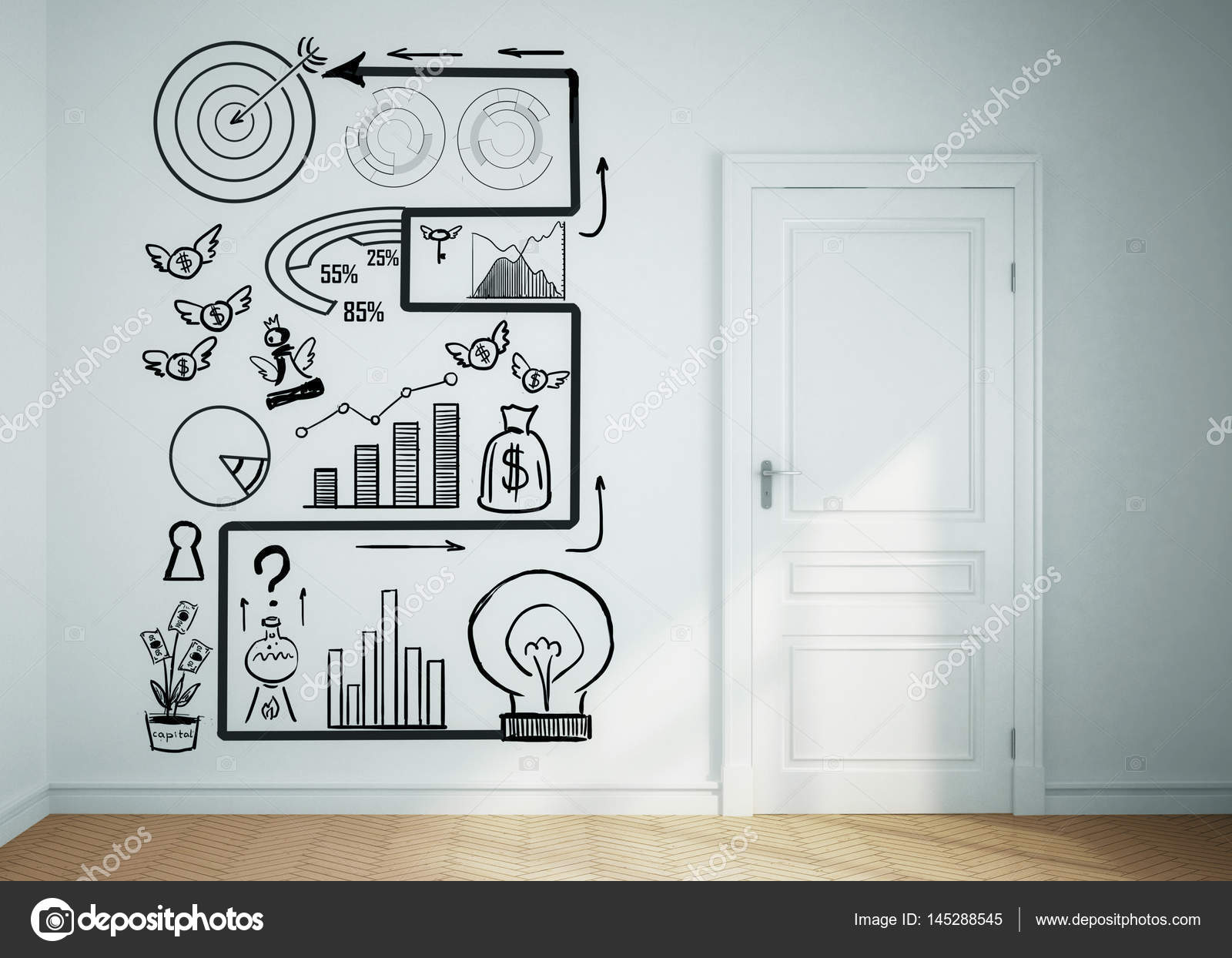 Concrete Room With White Door And Business Sketch On Wall