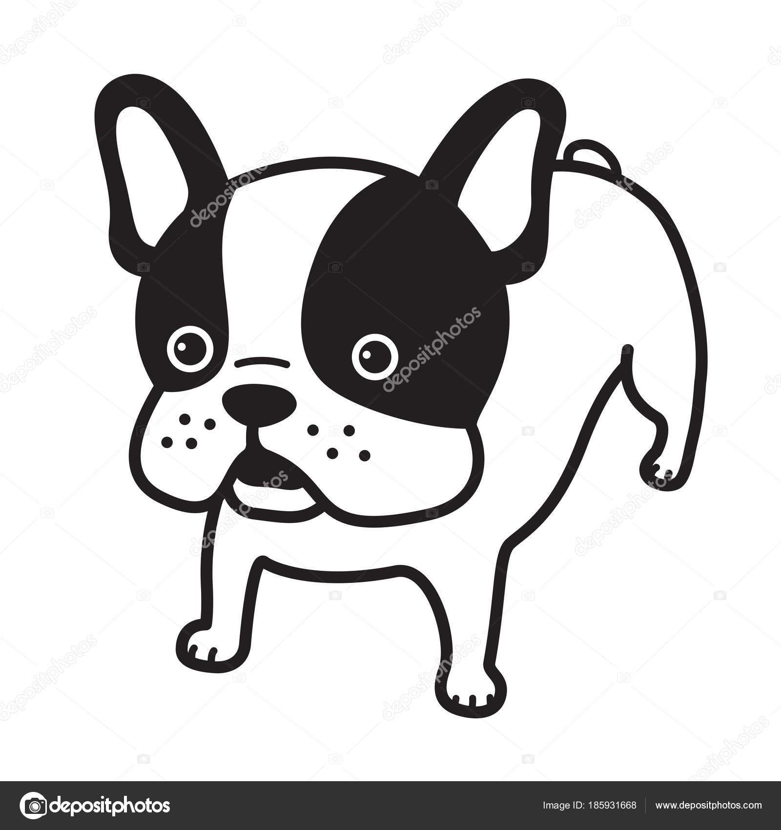 Franse Bulldog Vector Hond Illustratie Cartoon Karakter