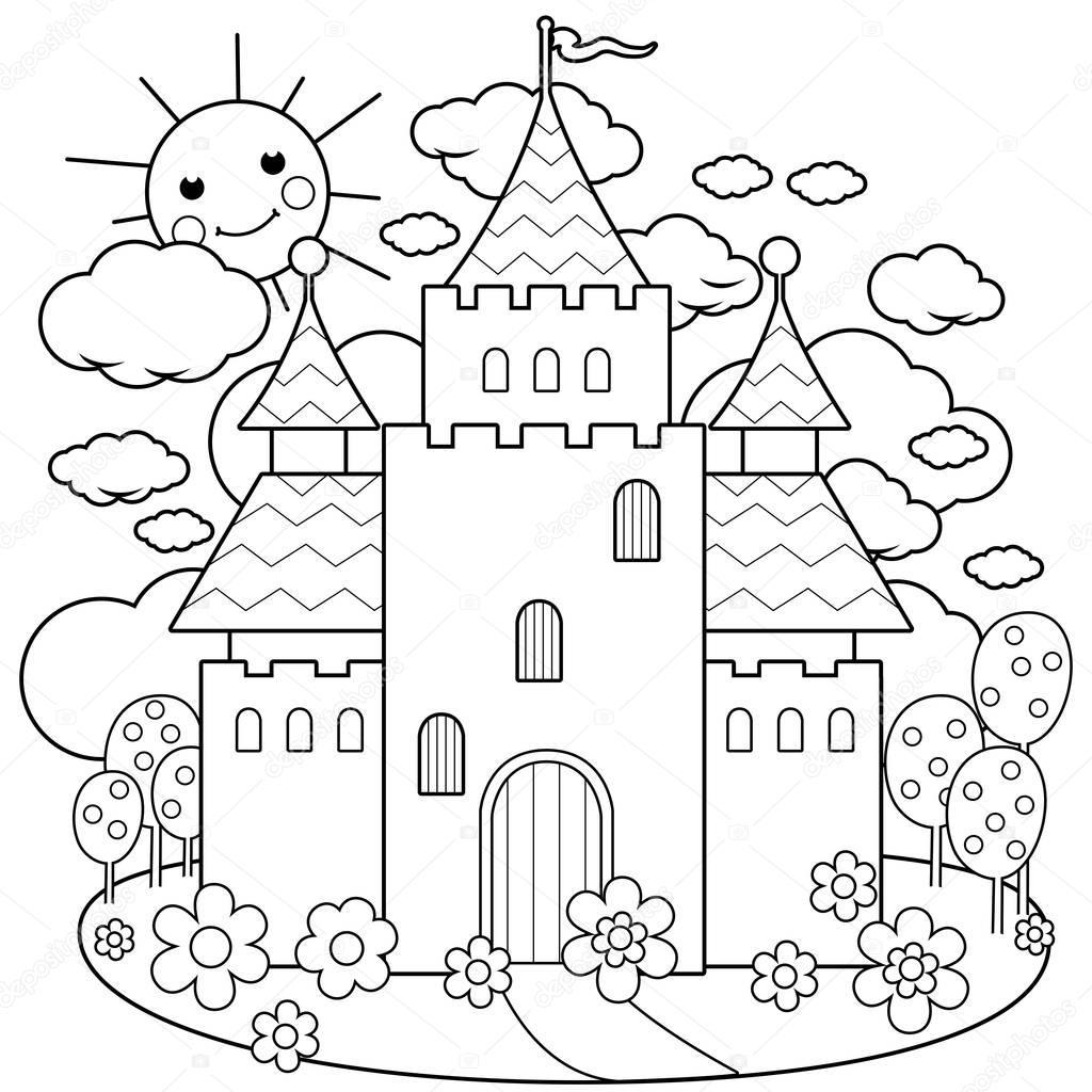 Castelo De Conto De Fadas E Flores Preto E Branco Para
