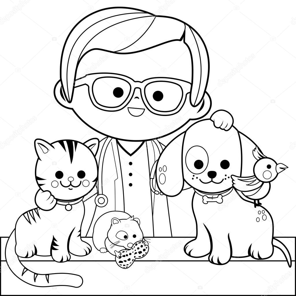 Veterinarian And Pets Coloring Book Page