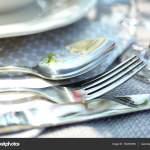 Cutlery On Light Tablecloth Closeup Stock Photo C Belchonock 152250506
