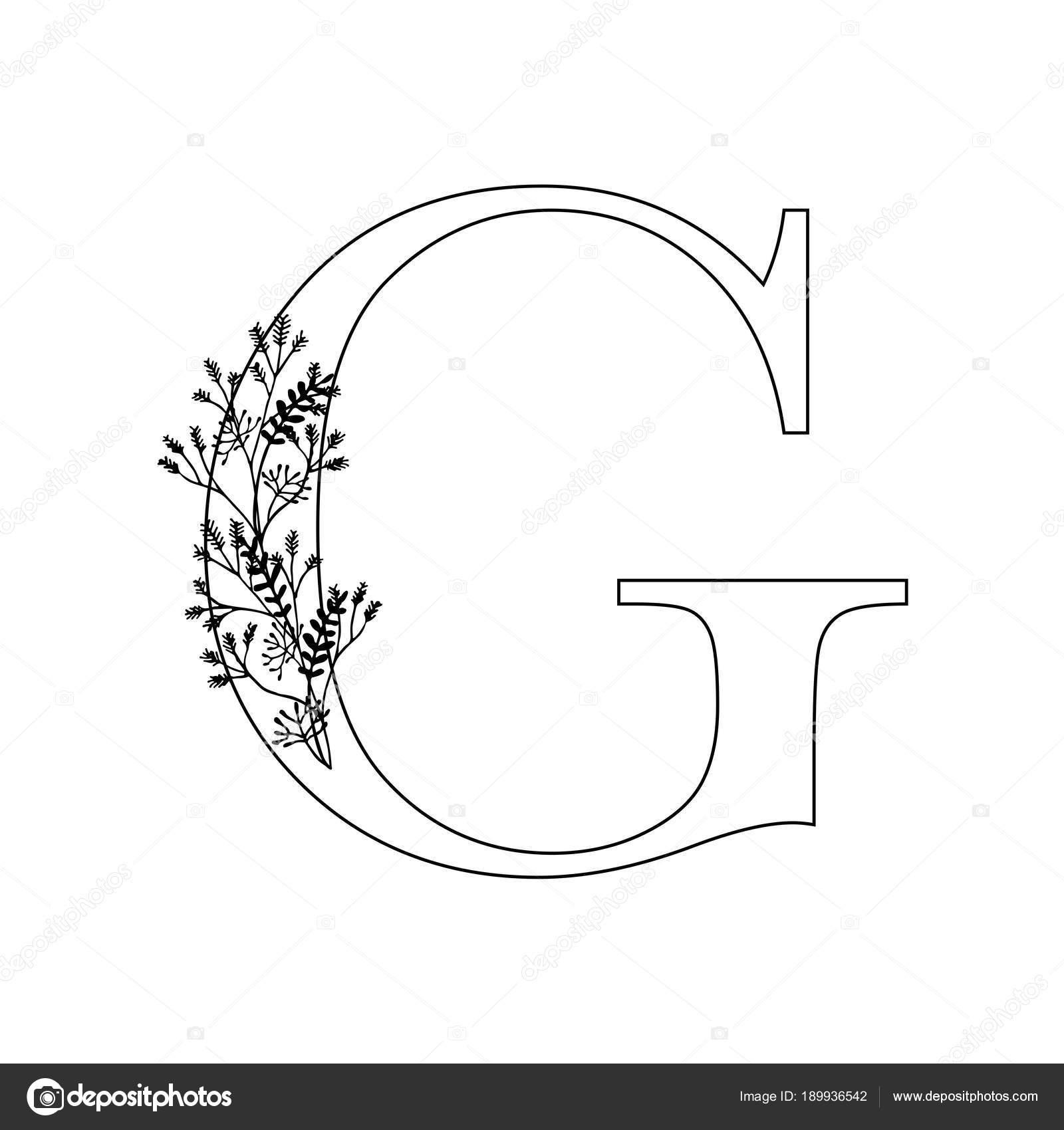 Lettera Di Floral Design Lettering G Romantico Con Fiori