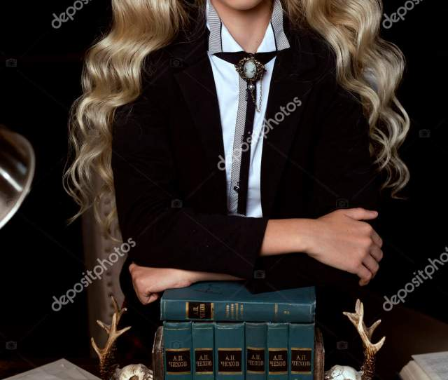 Beautiful Long Haired Blonde Schoolgirl Is Tiredly Relying On Se Stock Photo