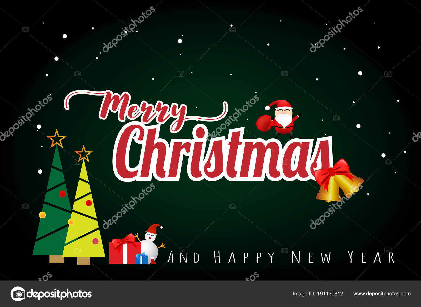 Merry Christmas Happy New Year Concept Green Color Background Vector     Merry Christmas Happy New Year Concept Green Color Background Vector      Stock Vector