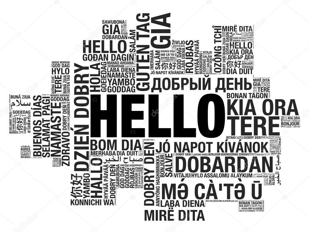 Hello Word Szamos Nyelven Vektor Szo Felh Fogalmat