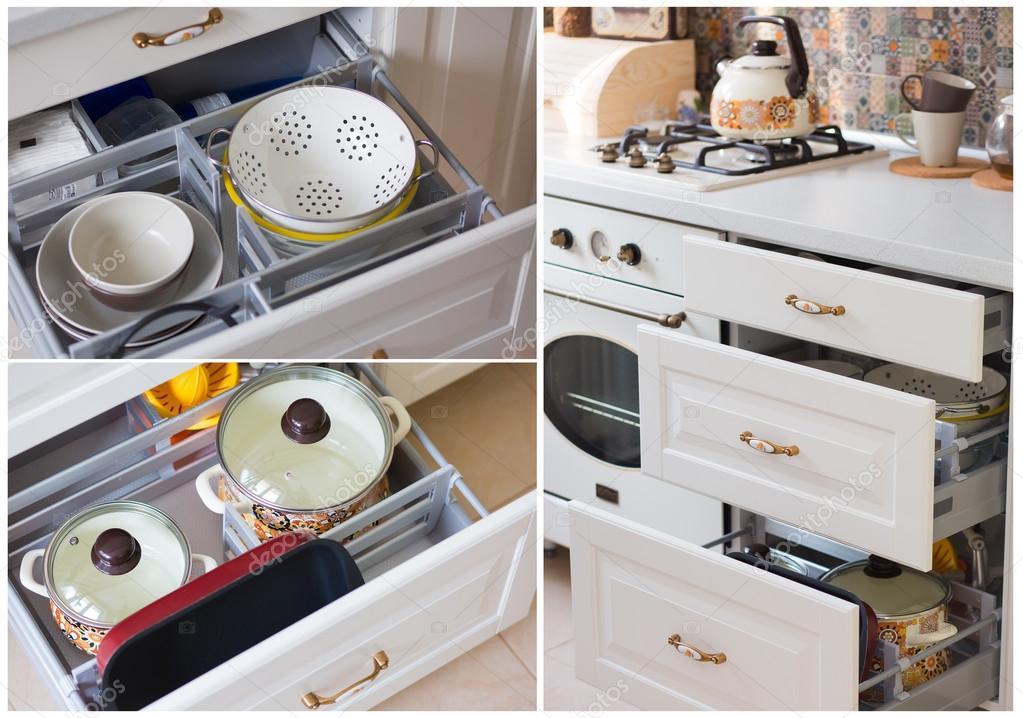 les tiroirs se trouve la batterie de cuisine casseroles recipient pour la cuisson au four passoire assiettes et bols tous bien separes