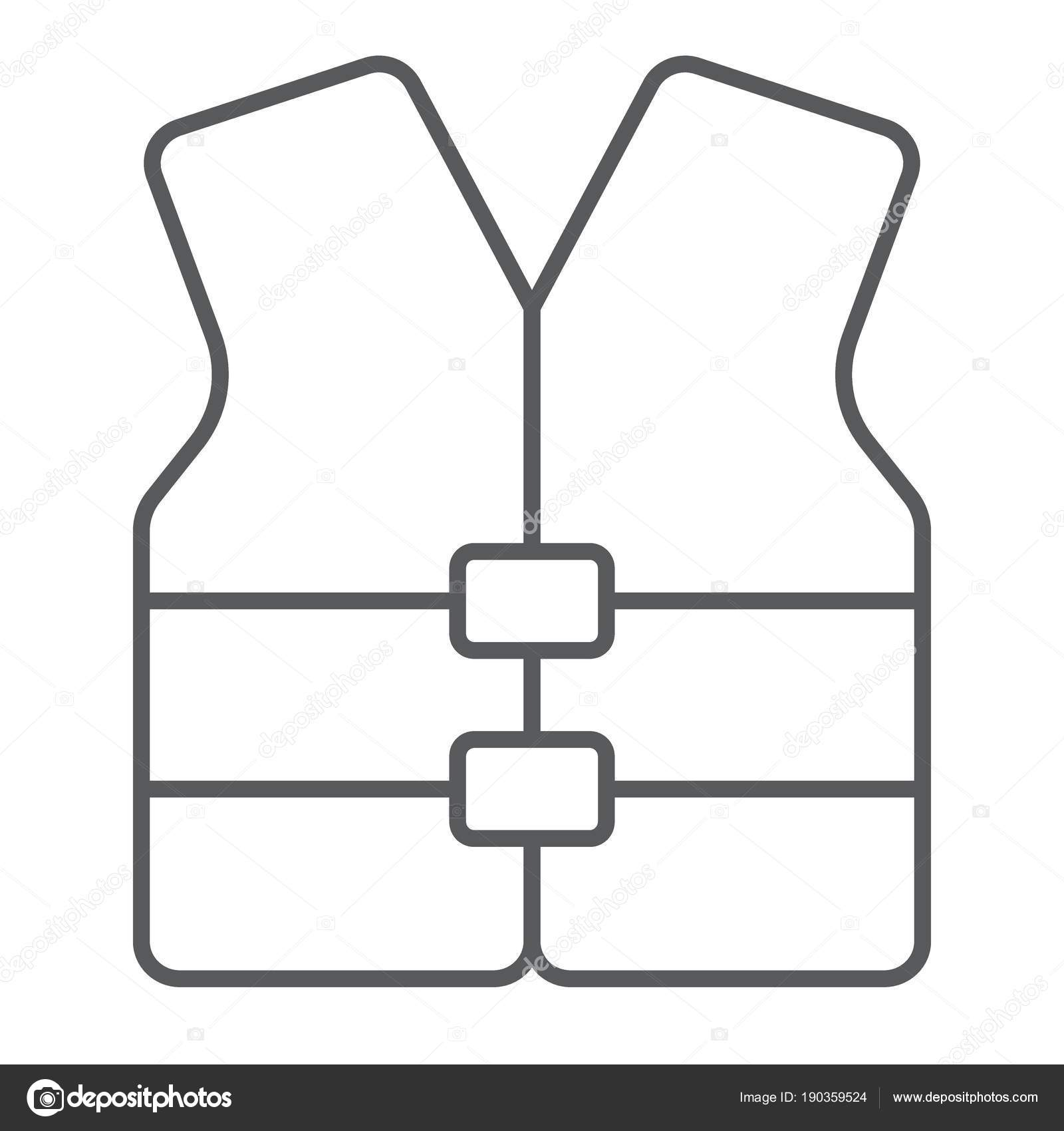 Life Vest Thin Line Icon Safety And Swimming Life Jacket