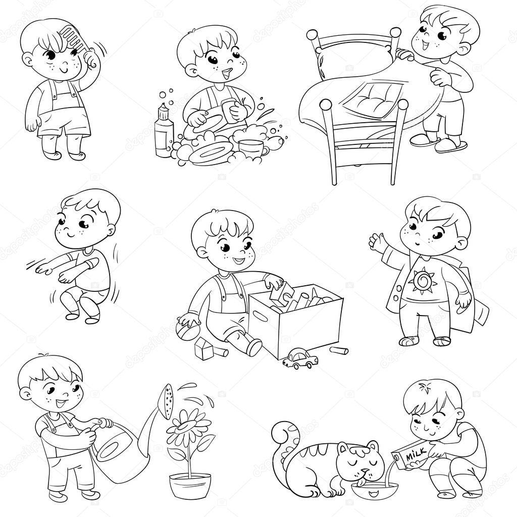 Dibujos Animados Nino Diario Conjunto De Actividades