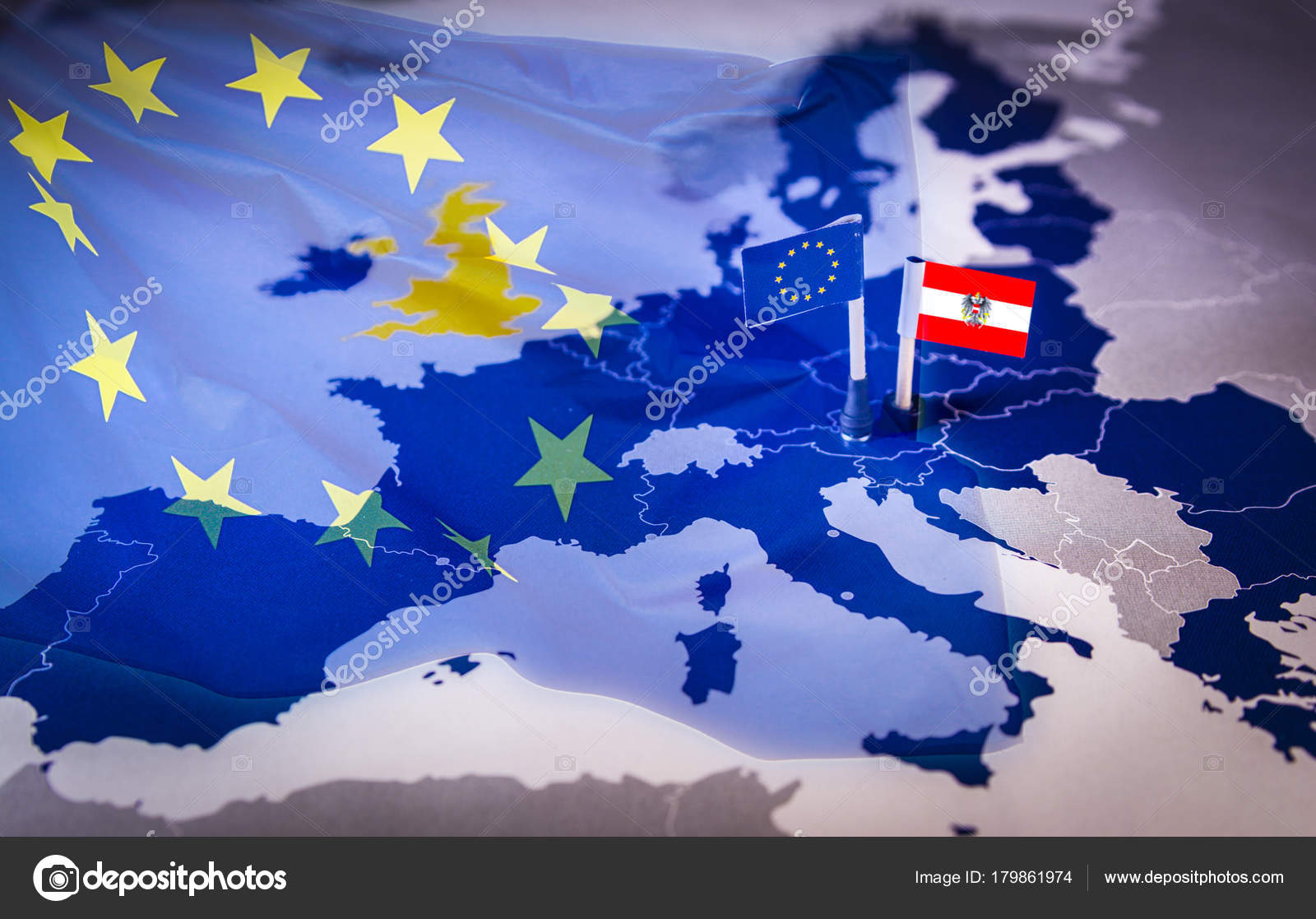 EU and Austria flag over an european union Map     Stock Photo      tbtb     EU and Austria flag over an european union Map     Stock Photo