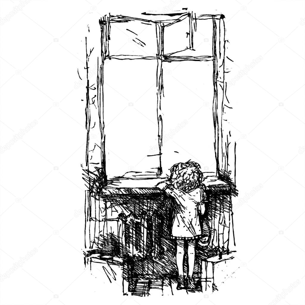 A Girl Looks Out The Window Engraving Illustration