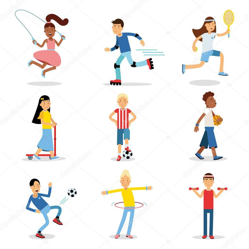 Jugendliche Tun Andere Sportart Festlegen Kinder Bewegung