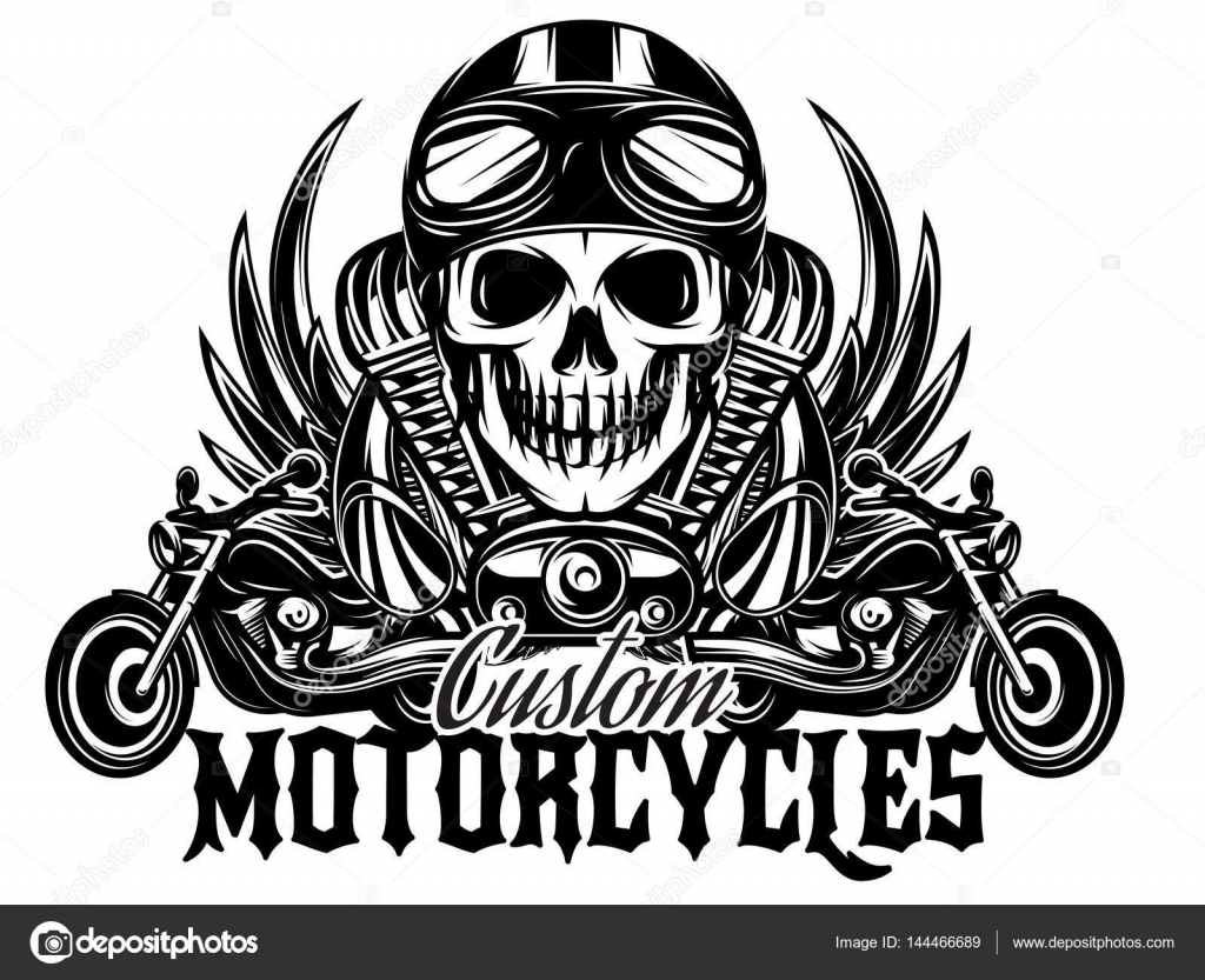 Vector De La Imagen Monocromatica Con Motocicletas Alas