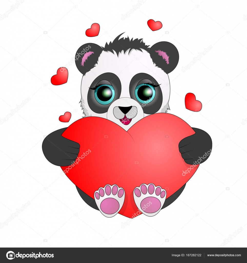 Panda With Big Eyes Holding A Heart Valentine S Day