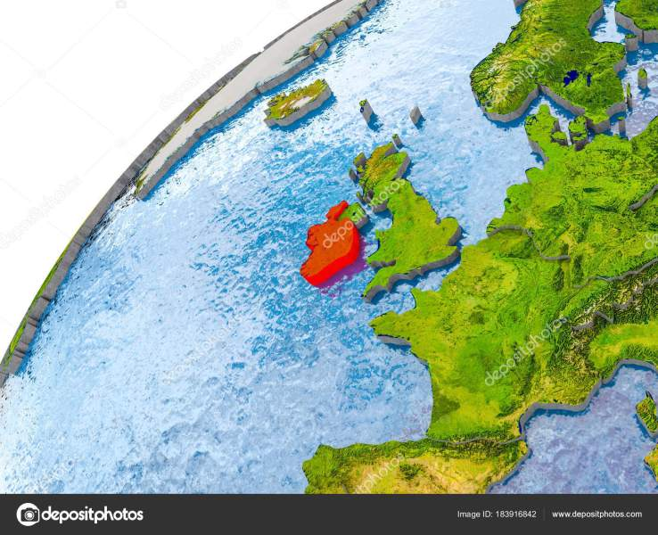 Map of Ireland in red on globe     Stock Photo      tom griger  183916842 Map of Ireland in red on globe     Stock Photo