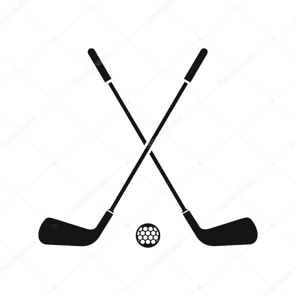 Zwei Gekreuzte Golfschlager Und Ball Symbol Einfachen