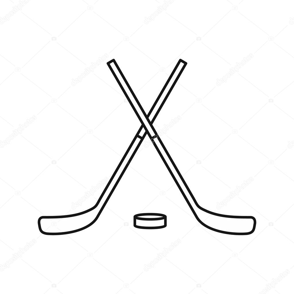 Crossed Hockey Sticks And Puck Icon Outline Style