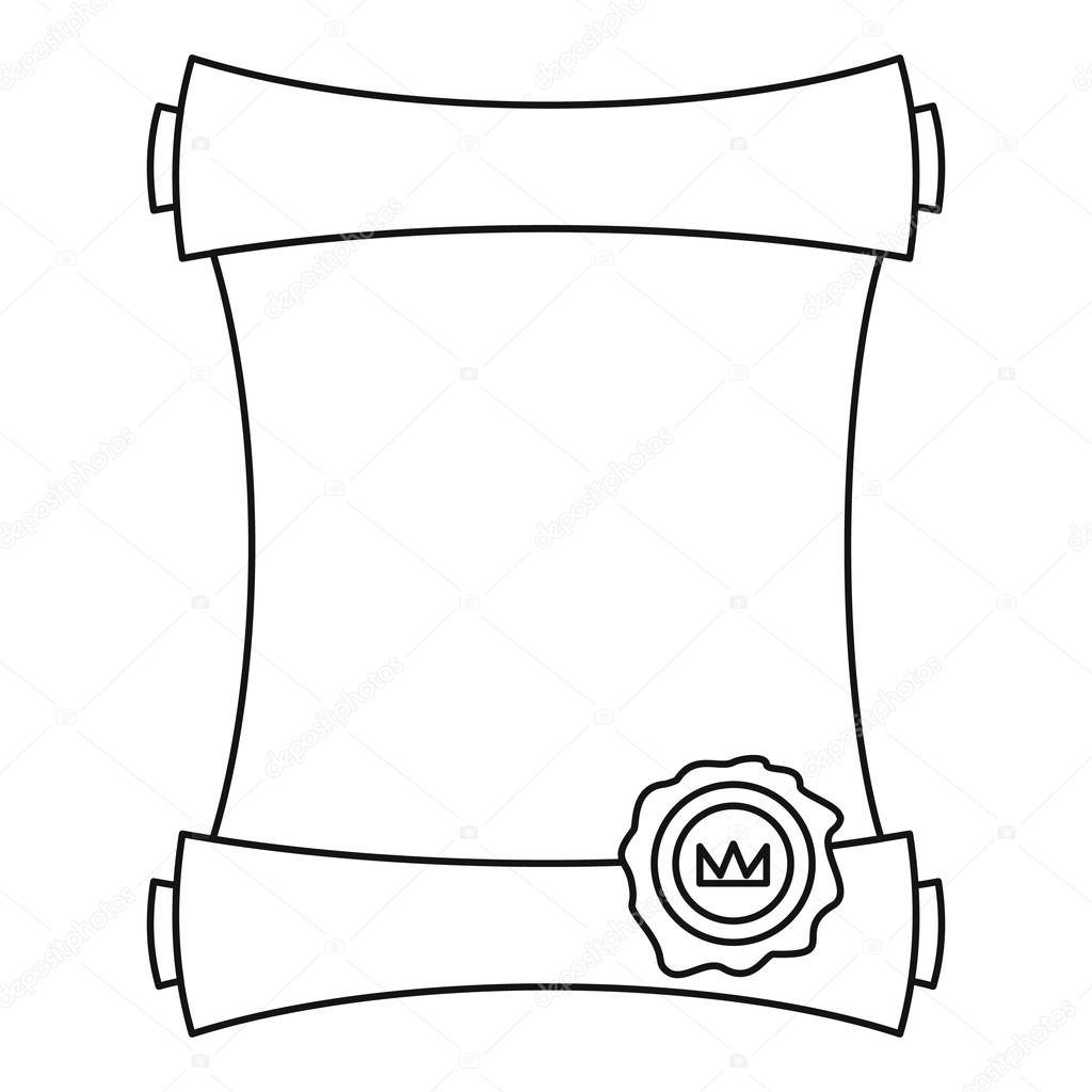 Paper Scroll With Wax Seal Icon Outline Style