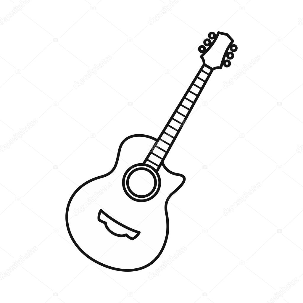 Guitar Icon Outline Style