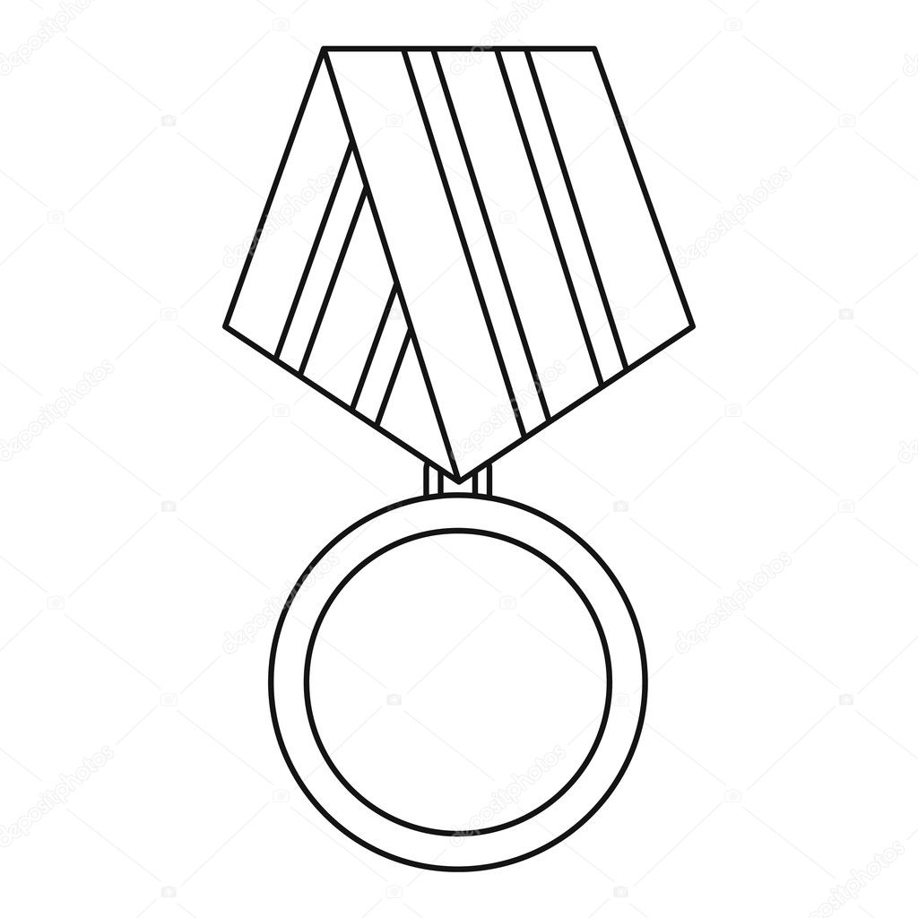 Military Medal Icon Outline Style