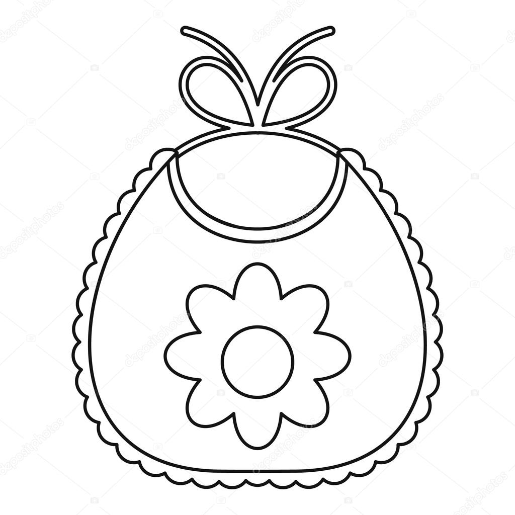 Baby Bib With Flower Icon Outline Style