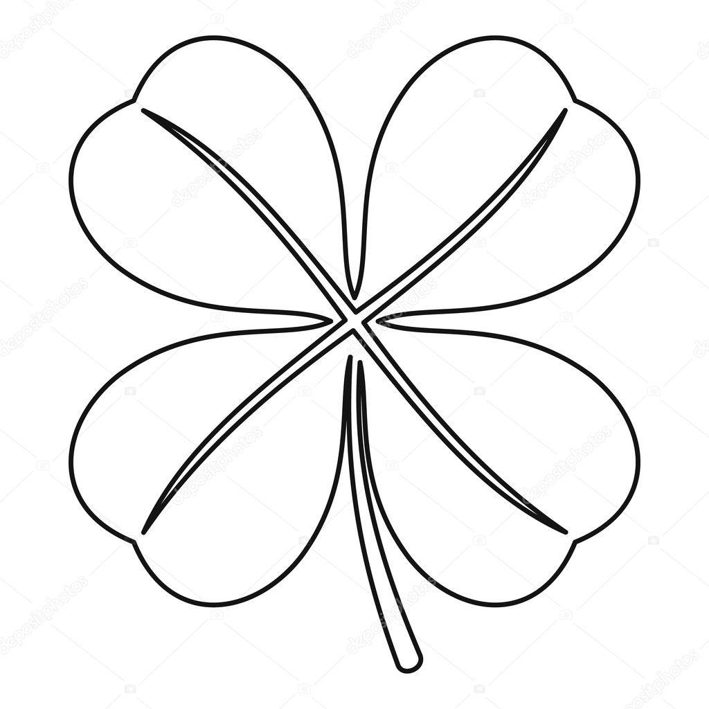 Four Leaf Clover Leaf Icon Outline Style