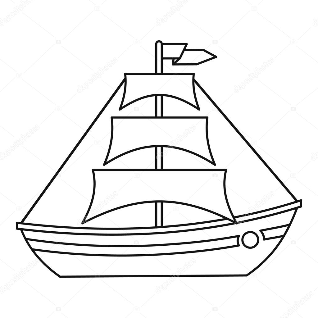 Boat With Sails Icon Outline Style