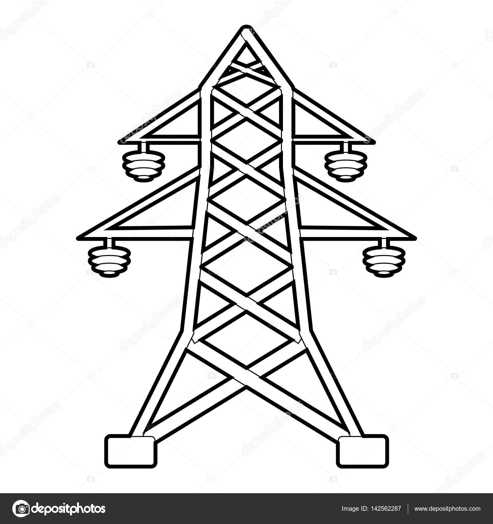 Icone De Poteau Electrique Style De Contour
