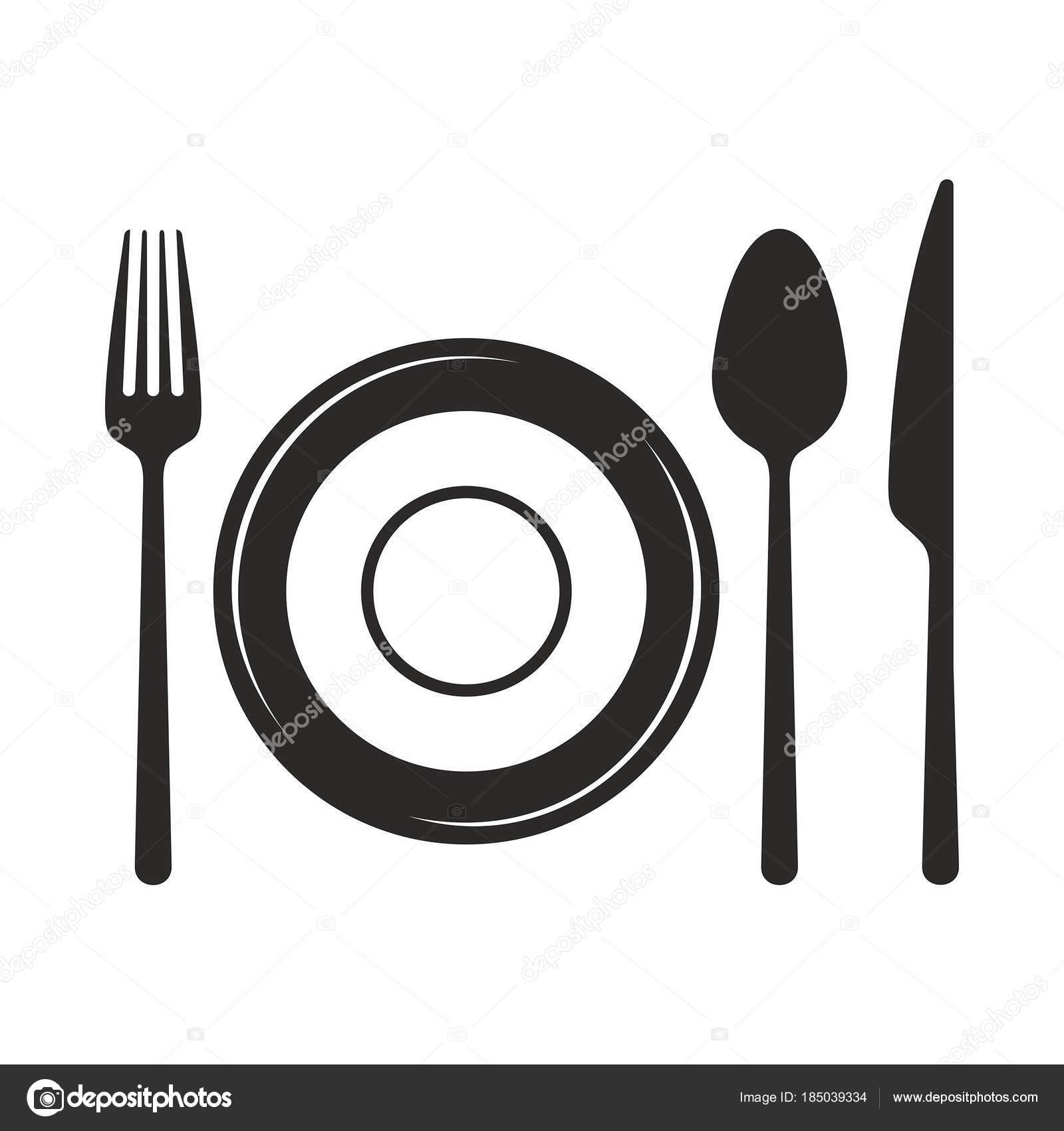Tenedor Cuchillo Cuchara Plato Icono Vector