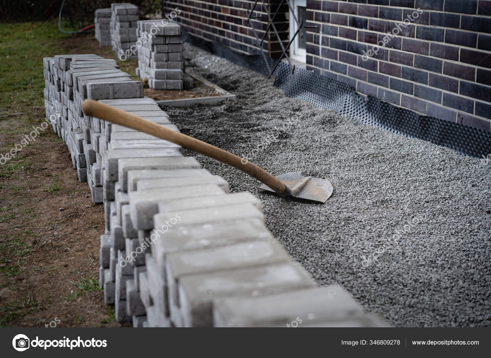 laying gray concrete paving slabs house walkway stacks concrete blocks stock photo image by c hopsalka 346809278