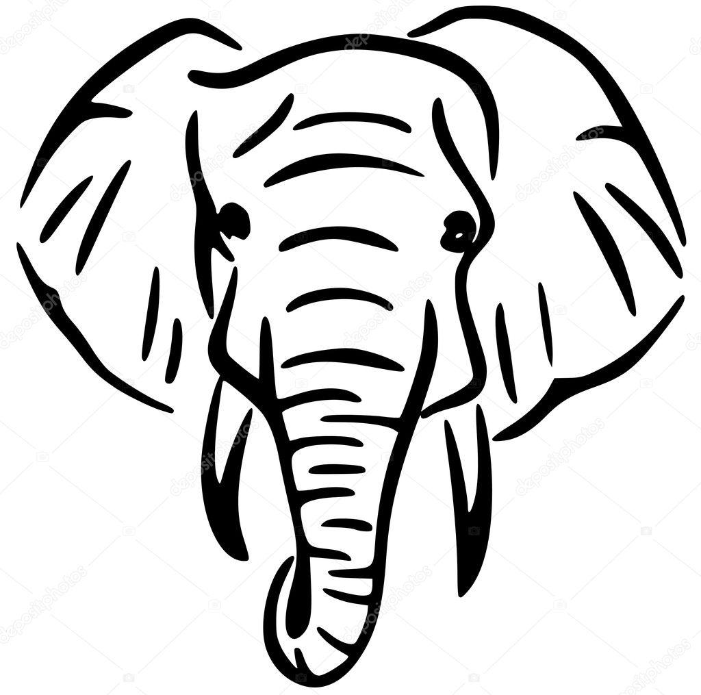Vector De Ilustracion De Cabeza De Elefante De Arte