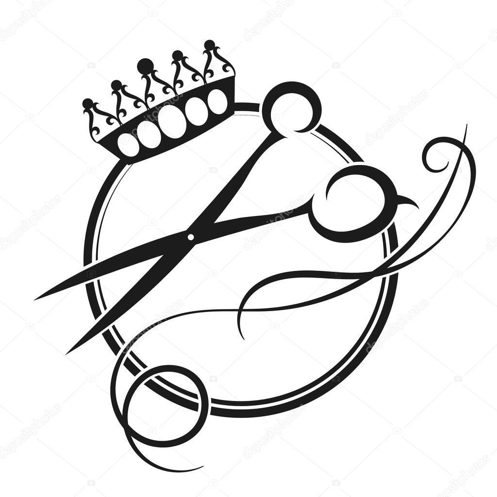 Silhueta De Tesoura E Coroa