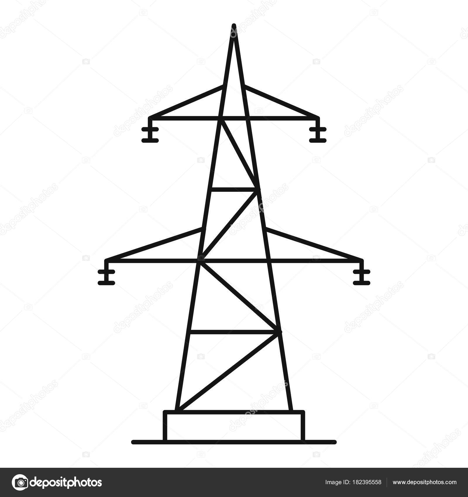 Electrical Power Station Icon Outline Style