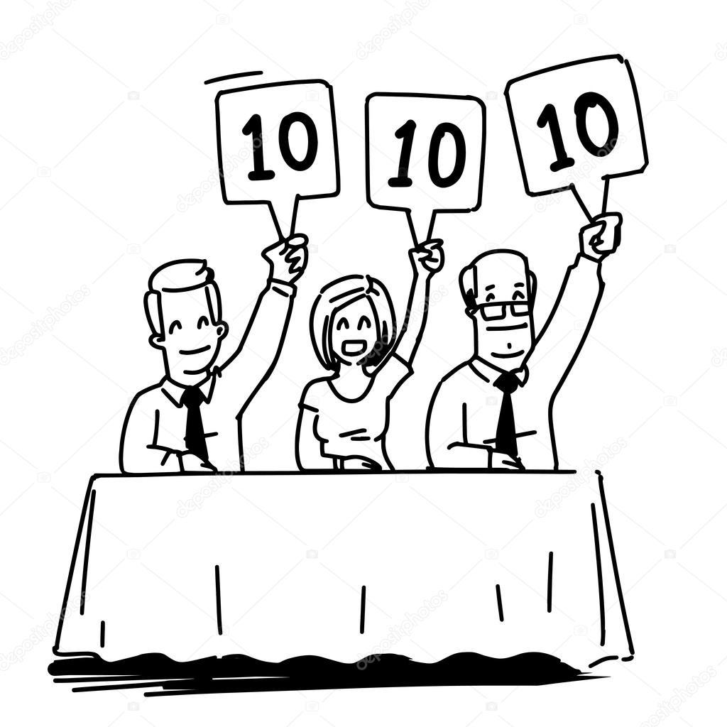 Grupo De Jueces Con Tarjetas De Puntuacion