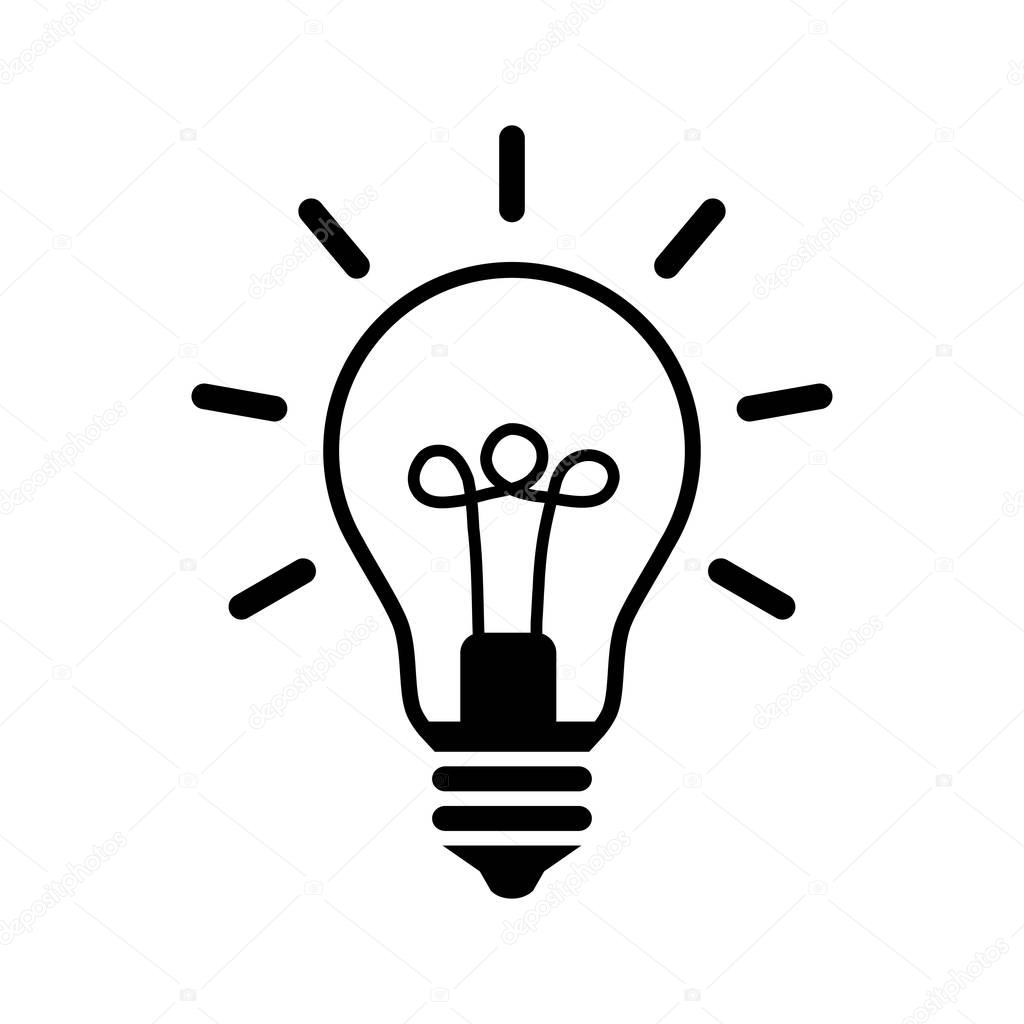 Black Lightbulb Icon On White Background
