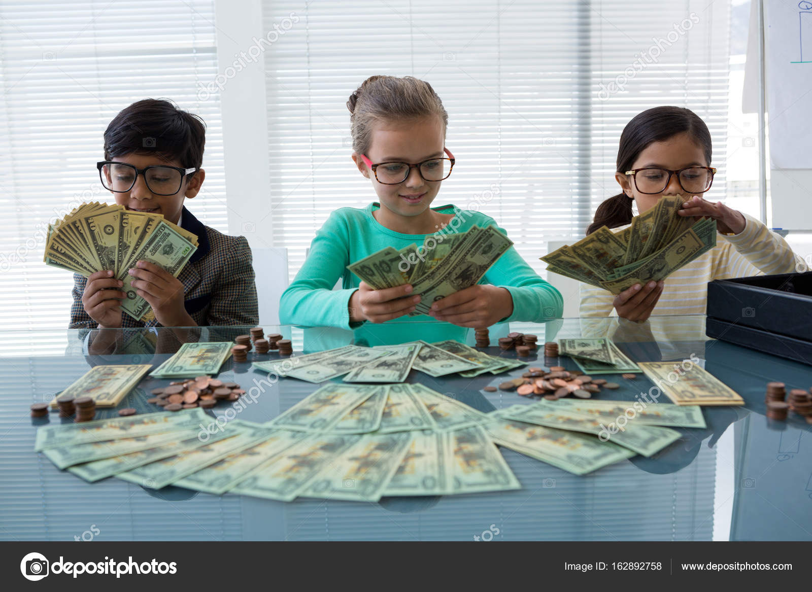 Business Kids Counting Money