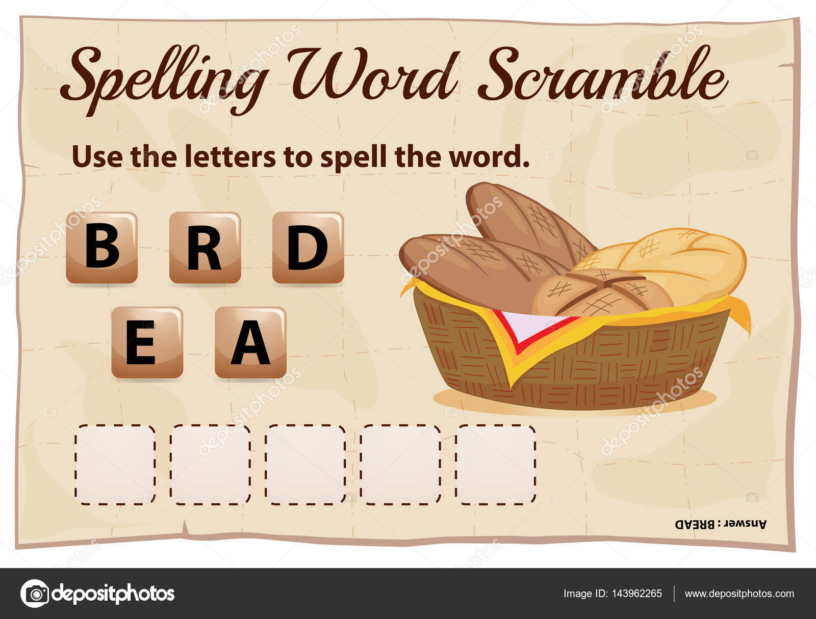 Spelling Word Scramble Game With Word Bread