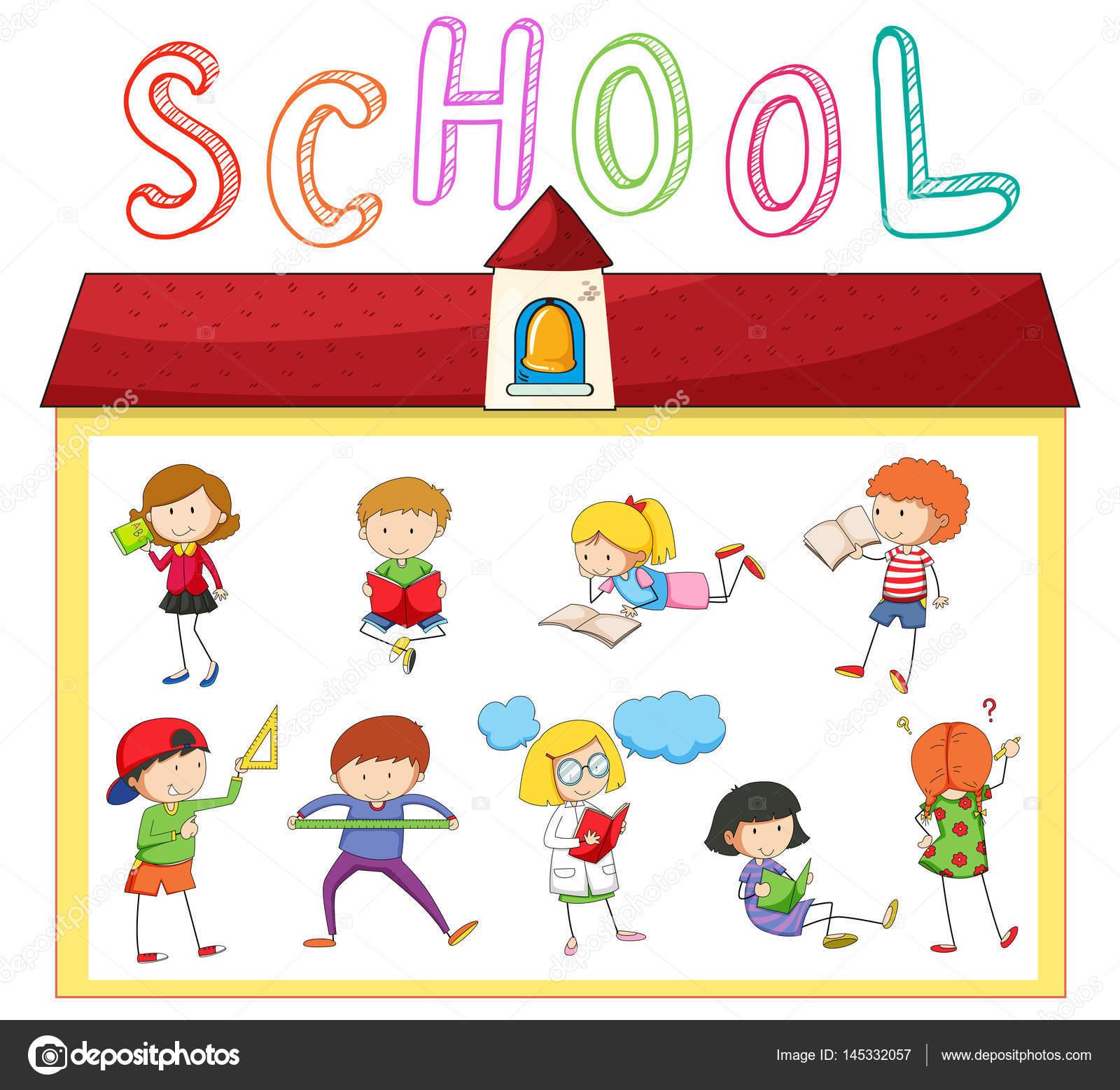 Children Doing Different Activities At School