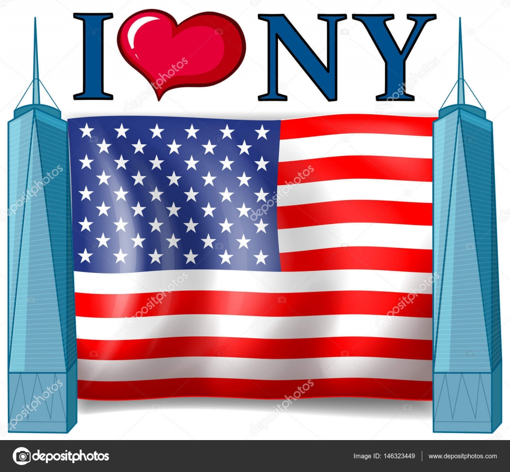 Download I love New York sign with American flag — Stock Vector ...
