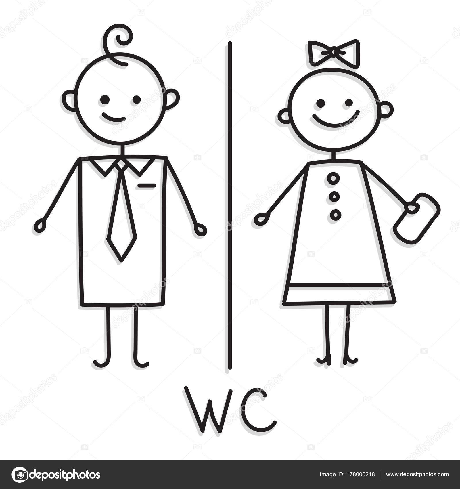 Wc Sign Toilet Door Plate Icon Bathroom Plate Men And Women Wc Sign For Restroom Vector