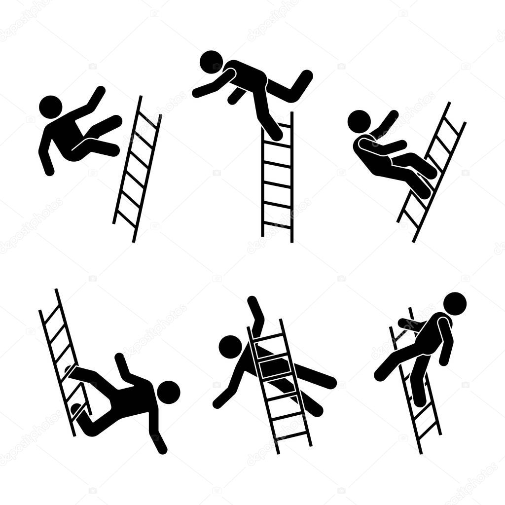 Man Falling Ladder Stick Figure Pictogram Different
