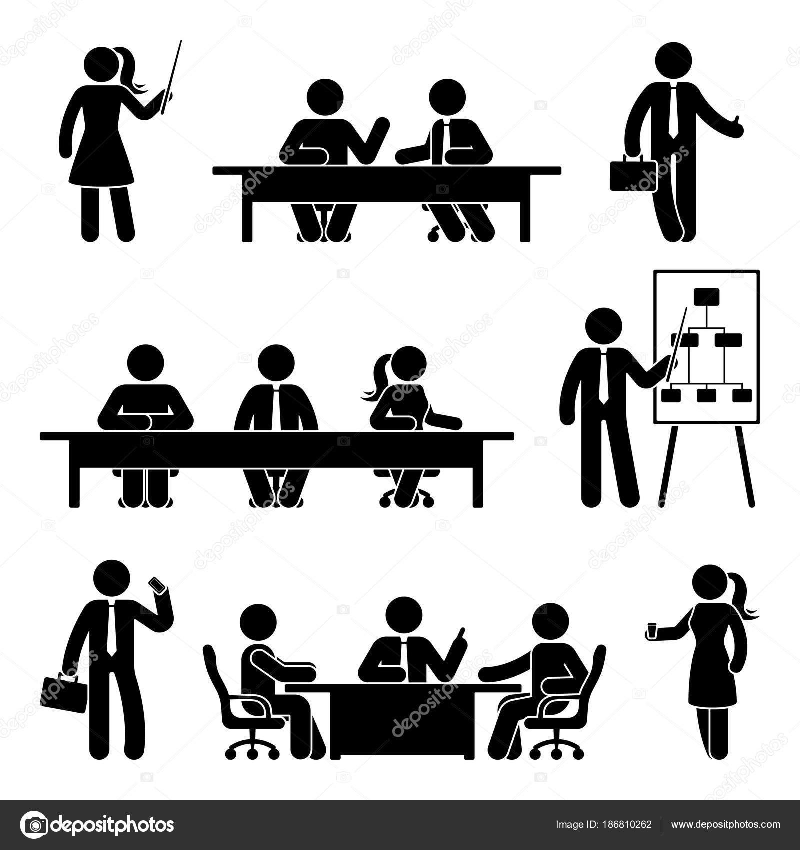 Strichmannchen Business Meeting Symbol Gesetzt Vektor