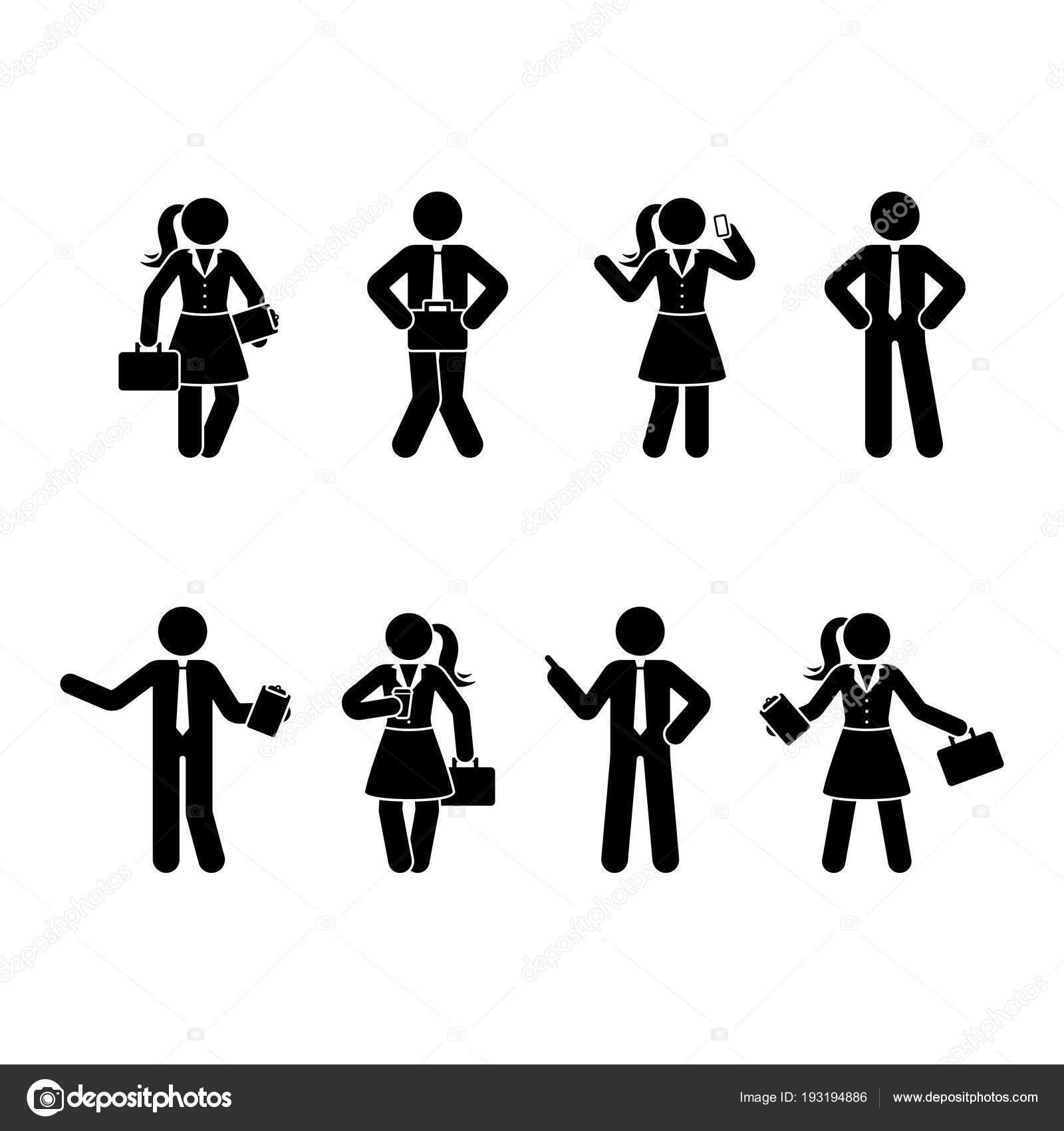 Strichmannchen Buro Manner Und Frauen Eingestellt Vektor