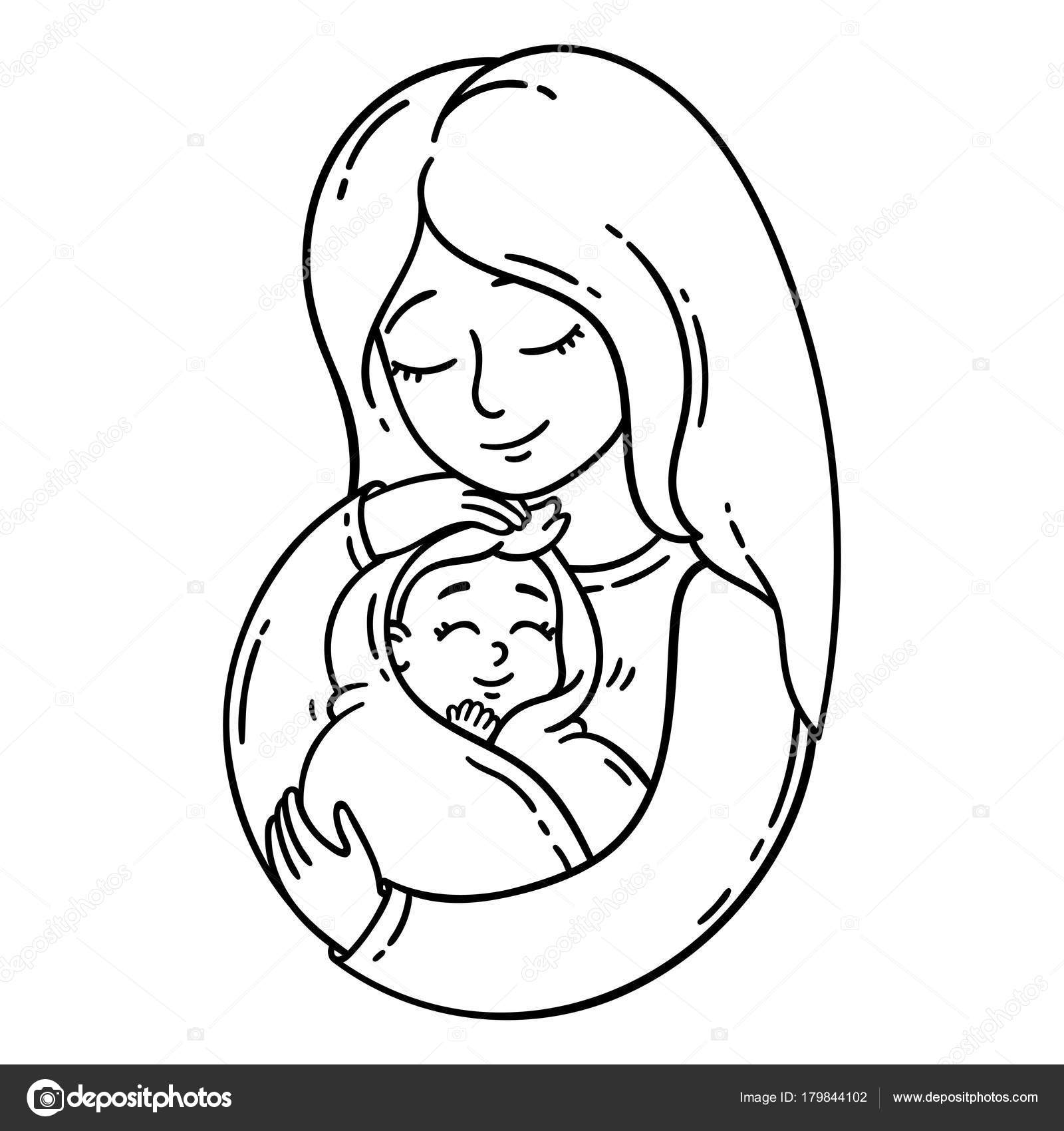 Mother Holding Baby Isolated Objects White Background