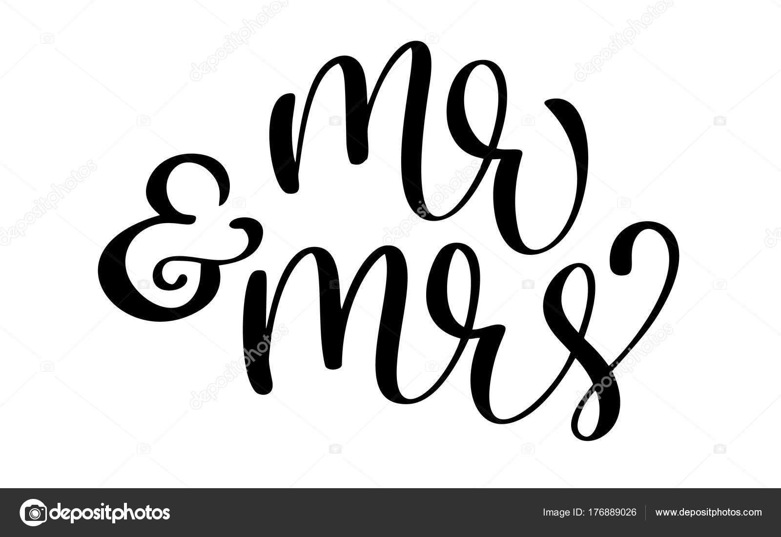 Herr Und Frau Text Auf Wei Em Hintergrund Handgezeichnete